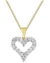 Macy's - Metallic Diamond Heart Miracle Plate Pendant Necklace (1/10 Ct. T.w.) In Sterling Silver - Lyst