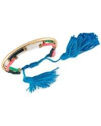 RACHEL Rachel Roy - Blue Gold-tone Beaded Tassel Slider Bracelet - Lyst