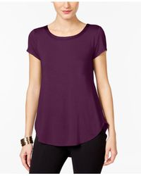 Alfani | Purple Petite Short-sleeve High-low Tee | Lyst