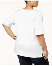 Karen Scott - White Plus Size Cotton Cuffed-sleeve Top, Created For Macy's - Lyst