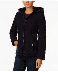 Laundry by Shelli Segal - Blue Quilted Velvet-trim Jacket - Lyst