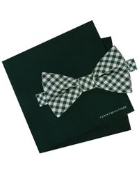 Tommy Hilfiger - Green Men's Micro Gingham Pre-tied Silk Bow Tie & Solid Silk Pocket Square Set for Men - Lyst