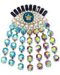 Betsey Johnson - Blue Silver-tone Multi-crystal Evil-eye Pin - Lyst