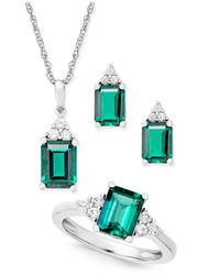 Macy's - Metallic Lab-created Emerald (4 Ct. T.w.) And White Sapphire (3/8 Ct. T.w.) Jewelry Set In Sterling Silver - Lyst