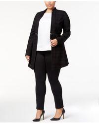 Alfani Black Plus Size Flocked Plaid Jacket