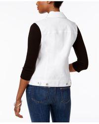 Style & Co. - White Petite Denim Vest - Lyst