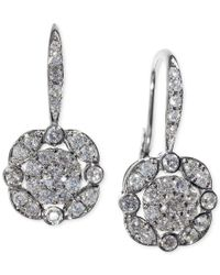 Macy's | Multicolor Effy Diamond (5/8 Ct. T.w.) Leverdrop Cluster Earrings In White Gold | Lyst