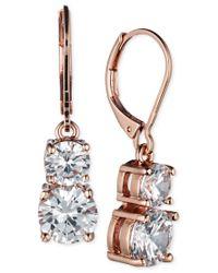 Anne Klein | Pink Gold-tone Double Crystal Drop Earrings | Lyst