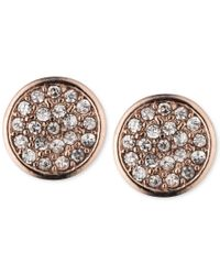 Anne Klein | Pink Rose Gold-tone Pave Button Earrings | Lyst