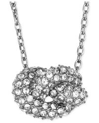 Michael Kors - Metallic Silver-tone Clear Pave Knot Pendant Necklace - Lyst