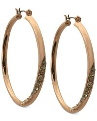 Guess - Pink Earrings, Rose Gold-tone Crystal Twisted Hoop Earrings - Lyst