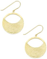 Macy's - Metallic Diamond-cut Circle Drop Earrings In 10k Gold - Lyst