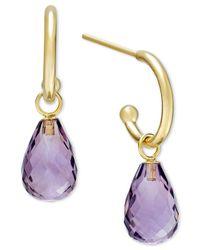 Macy's | Metallic Amethyst Hoop Earrings In 14k Gold (6-1/2 Ct. T.w.) | Lyst