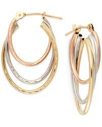 Macy's - Metallic Tri-tone Graduated Hoop Earrings In 10k Gold - Lyst