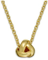 kate spade new york | Metallic Gold-tone Knot Pendant Necklace | Lyst