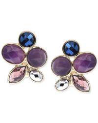Jones New York   Purple Gold-tone Faceted Jewel Stone Clip-on Earrings   Lyst