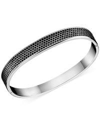 Calvin Klein | Metallic Stainless Steel Black Swarovski Crystal Bangle Bracelet | Lyst
