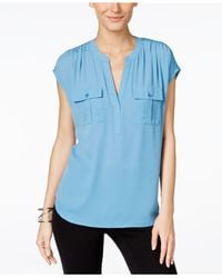 INC International Concepts | Blue Mixed-media Utility Shirt, Only At Macy's | Lyst