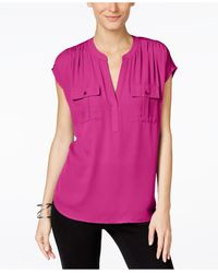 INC International Concepts | Purple Petite Mixed-media Utility Shirt, Only At Macy's | Lyst