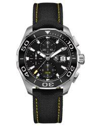 Tag Heuer - Men's Automatic Chronograph Aquaracer Calibre 16 Black Nylon Strap Watch 43mm Cay211a.fc6361 for Men - Lyst