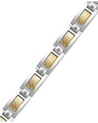 Macy's | Metallic Men's Inlay Diamond Bracelet In Stainless Steel And 18k Gold (1/5 Ct. T.w.) for Men | Lyst