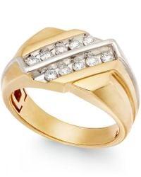 Macy's | Metallic Men's Diamond Two-row Ring In 10k Gold (1/2 Ct. T.w.) for Men | Lyst