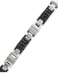 Macy's | Men's Black Leather And Stainless Steel Link Bracelet for Men | Lyst