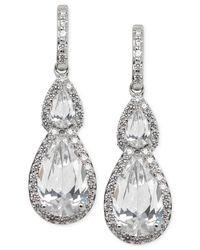 Arabella | Metallic Swarovski Zirconia Teardrop Earrings In Sterling Silver | Lyst
