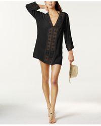 La Blanca | Black Crochet-trim Tunic Cover-up | Lyst
