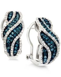 Wrapped in Love - White And Blue Diamond Hoop Earrings In Sterling Silver (1 Ct. T.w.) - Lyst