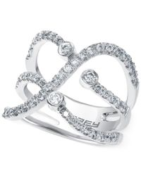 Effy Collection - Multicolor Diamond Stacked Midi Ring (1/2 Ct. T.w.) In 14k White Gold - Lyst