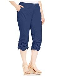 INC International Concepts | Blue Plus Size Ruched Cargo Pants | Lyst