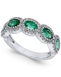 Macy's - Multicolor Emerald (1-1/10 Ct. T.w.) And Diamond (1/5 Ct. T.w.) Ring In 14k White Gold - Lyst