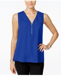 INC International Concepts | Blue Sleeveless Zippered Knit-back Top | Lyst