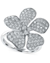 Effy Collection - Diamond Flower Ring In 14k White Gold (1-1/10 Ct. T.w.) - Lyst