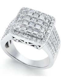 Macy's | Metallic Diamond Cluster Engagement Ring (1-1/2 Ct. T.w.) In 14k White Gold | Lyst