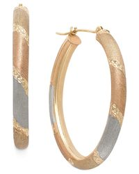 Macy's   Metallic Tri-tone Satin And Diamond Cut Oval Hoops In 14k Gold   Lyst