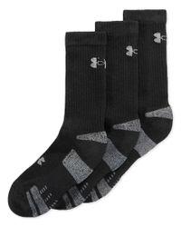 Under Armour | Black Men's Heatgear Crew Socks 3-pack for Men | Lyst