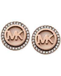 Michael Kors - Pink Rose Gold-tone Mk Logo Disc Earrings - Lyst