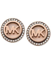 Michael Kors - Pink Rose Gold-tone Mk Logo Disc Earrings - Lyst