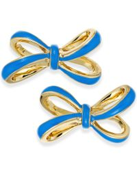 kate spade new york - Gold-tone Blue Tied Up Stud Earrings - Lyst