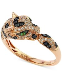 Effy Collection | Metallic Effy Diamond (1/2 Ct. T.w.) And Emerald Accent Panther Ring In 14k Rose Gold | Lyst