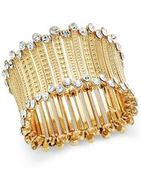 INC International Concepts | Metallic Gold-tone Crystal-trim Stretch Cuff Bracelet, Only At Macy's | Lyst