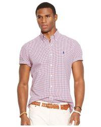 Polo Ralph Lauren - Red Men's Short-sleeved Checked Poplin Shirt for Men - Lyst