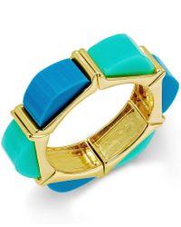 ABS By Allen Schwartz | Gold-tone Blue And Aqua Multi Colored Stretch Bracelet | Lyst