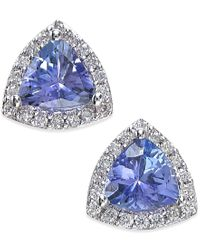 Effy Collection | Effy Tanzanite (3/4 Ct. T.w.) And Diamond (1/8 Ct. T.w.) Stud Earrings In 14k White Gold | Lyst