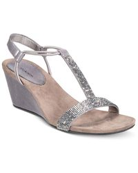 Style & Co. | Gray Mulan 2 Embellished Evening Wedge Sandals, Only At Macy's | Lyst