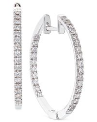 Macy's | Metallic Diamond Hoop Earrings In 14k White Gold (1/2 Ct. T.w.) | Lyst