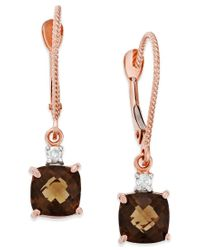 Macy's | Metallic Smoky Quartz (1-3/4 Ct. T.w.) And Diamond Accent Leverback Earrings In 14k Rose Gold | Lyst