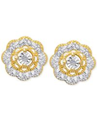 Macy's | Metallic Victoria Townsend Diamond Accent Flower Stud Earrings In 18k Gold Over Sterling Silver | Lyst